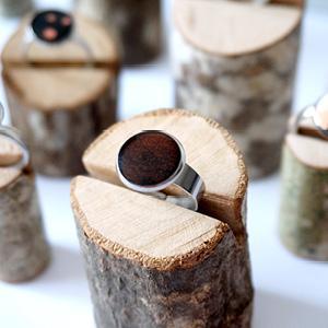 Bague réglable bois de marqueterie marron foncé