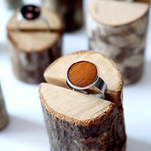 Bague réglable bois de marqueterie marron caramel