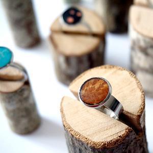 Bague réglable bois de marqueterie marron tacheté