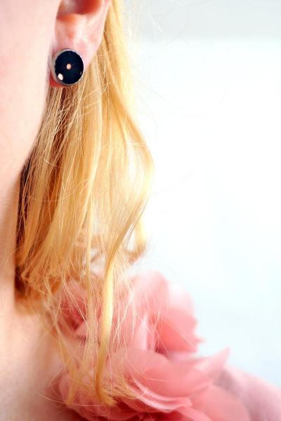 Bo cercle noir pois rose