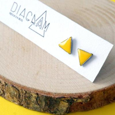 Bo clou mini triangles jaune