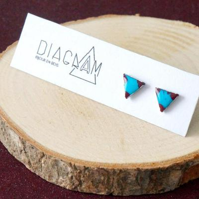 Bo clou mini triangles turquoise bordeau