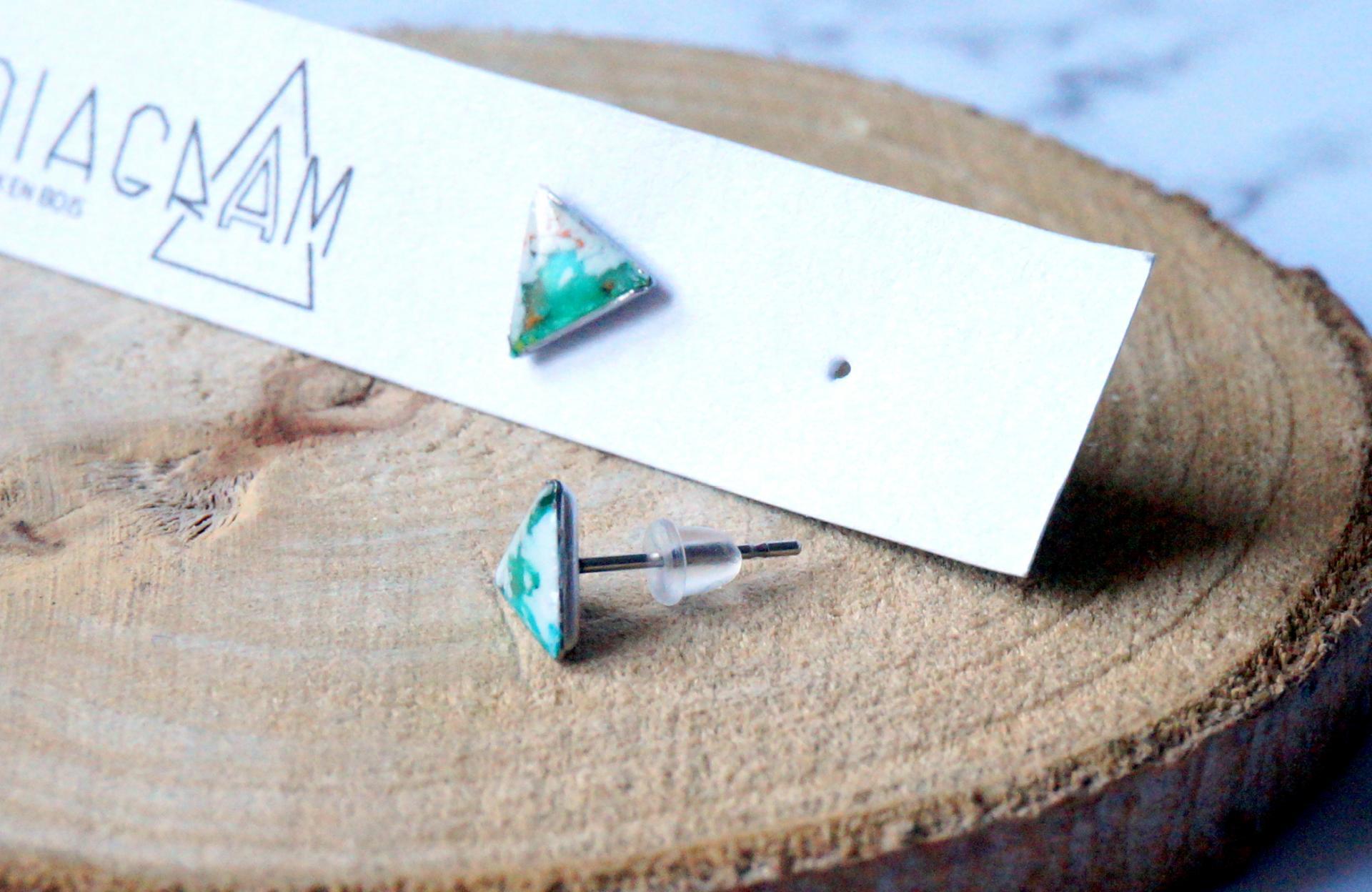 Bo mini triangle vert blanc turquoise 1