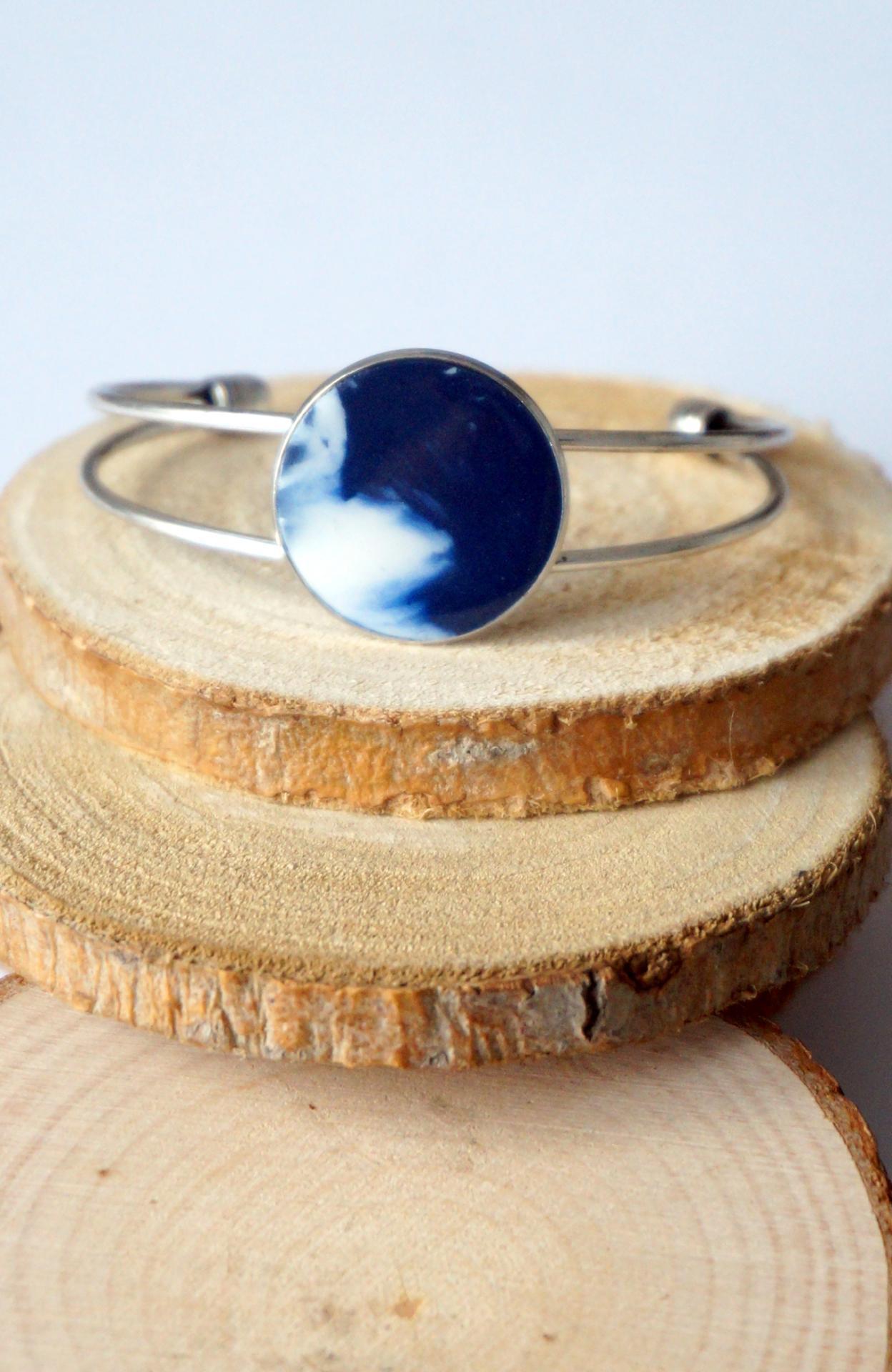 Bracelet arg blanc bleu fi