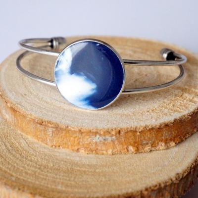 Bracelet arg blanc bleu fim