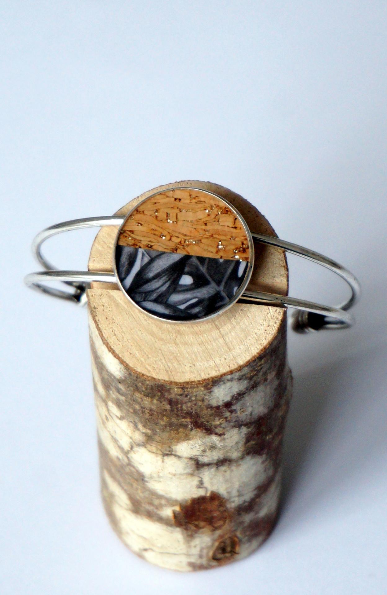 Bracelet arg lie ge arg motif noir gris feuillage