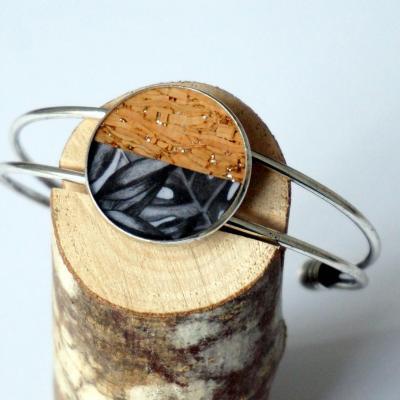 Bracelet argent gris noir lie ge argent