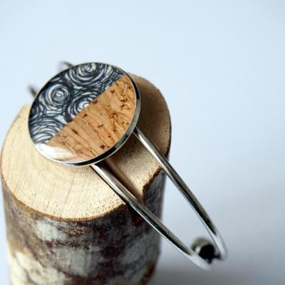 Bracelet argent motif spiral noir gris lie ge