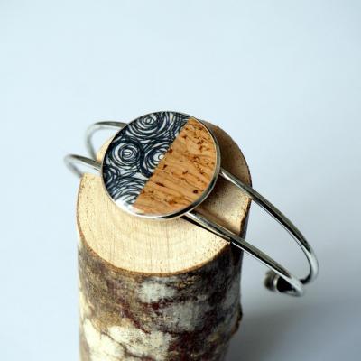 Bracelet argent noir gris lie ge