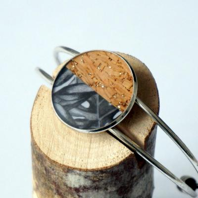 Bracelet argent v gris noir lie ge argent 1