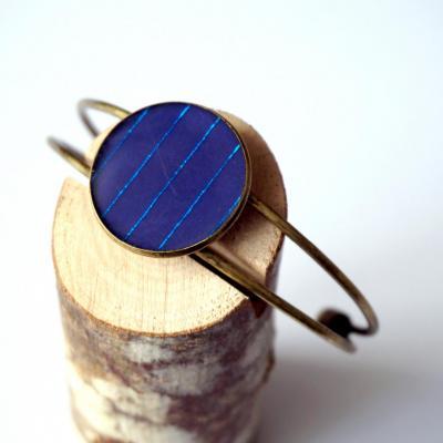 Bracelet bronze bleu f lignes brillantes bleu