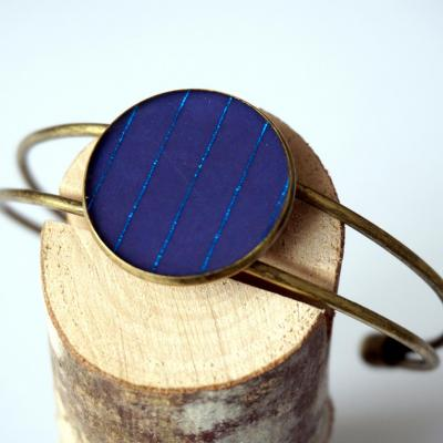 Bracelet bronze bleu fonce lignes bleu