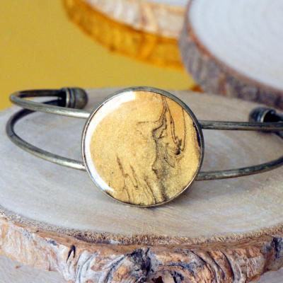 Bracelet bronze dore noir