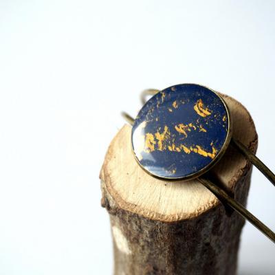 Bracelet bronze fimo bleu or