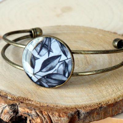 Bracelet bronze noir gris feuillage