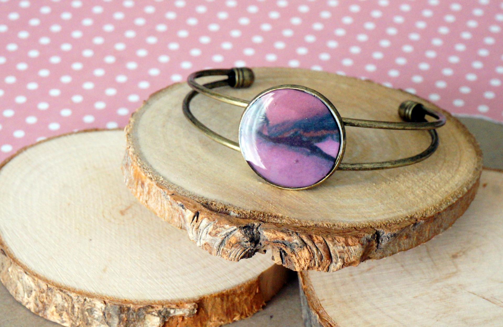 Bracelet bronze rose violet 2