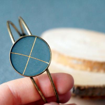 Bracelet bronze vert croix lignes or