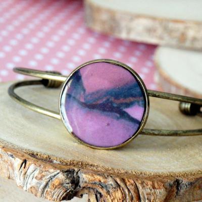 Bracelet bronze violet rose zoom