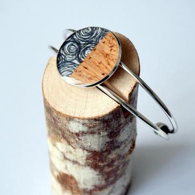 Bracelet lie ge argent spirale noir
