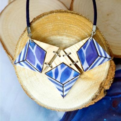 Collier 3 losanges bleu violet gris2