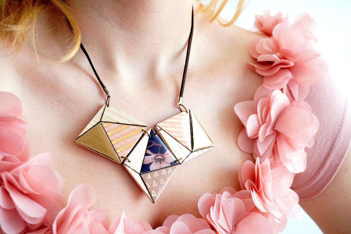 Collier 3losanges 3d violet or rose