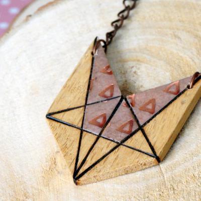 Collier mini renard rose triangle