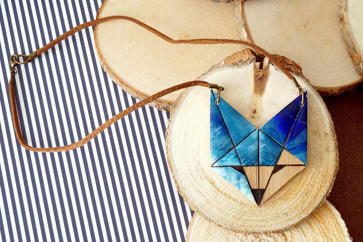 Collier renard peinture - bleu