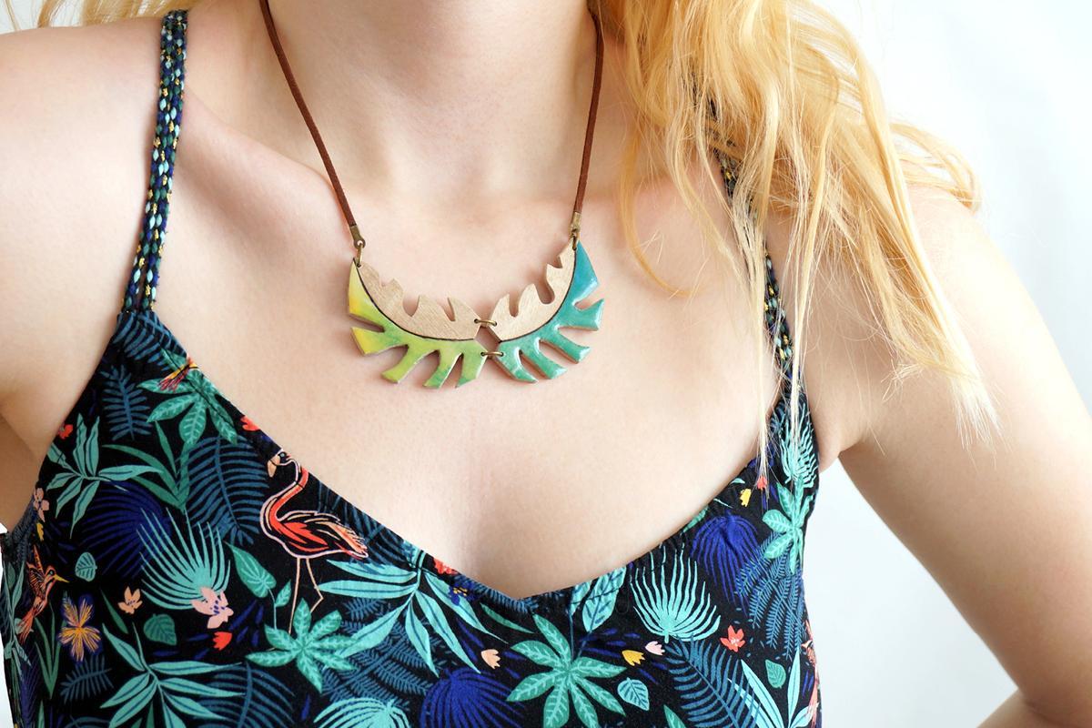 Collier tropical nuance vert