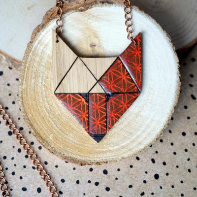 Sautoir loup marron motif ge o orange