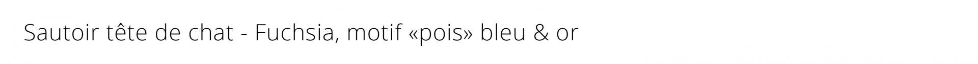 Titre sautoir chat fuchsia pois or bleu 1